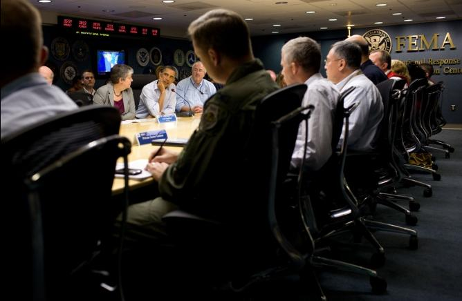 Photo of the Day     President Barack Obama visits the National Response Coordination Center at FEMA Headquarters in Washington, D.C.