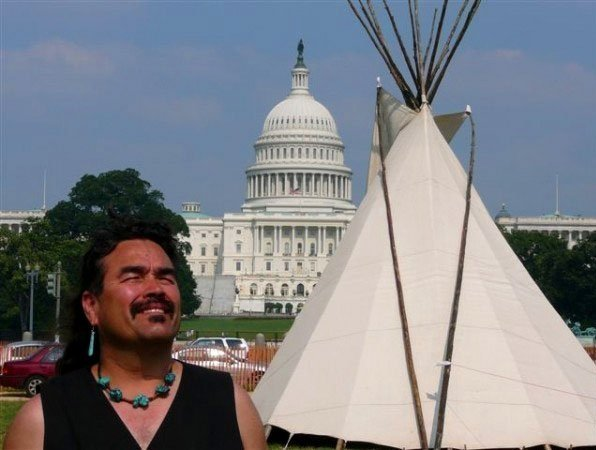 Evans Craig outside of the Teepee on the National Mall